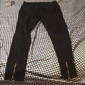 Jeans - Distress black men skinny jeans